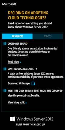 Windows Server 2012 Banner ad