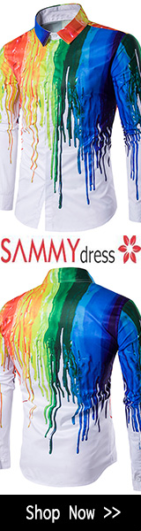 Sammydress Colorful Splatter Paint Print Long Sleeve Shirt - White promotion
